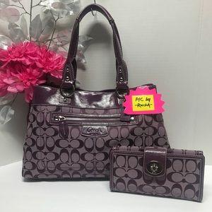 Coach Penelope Purple Signature Bag Purse & Wallet
